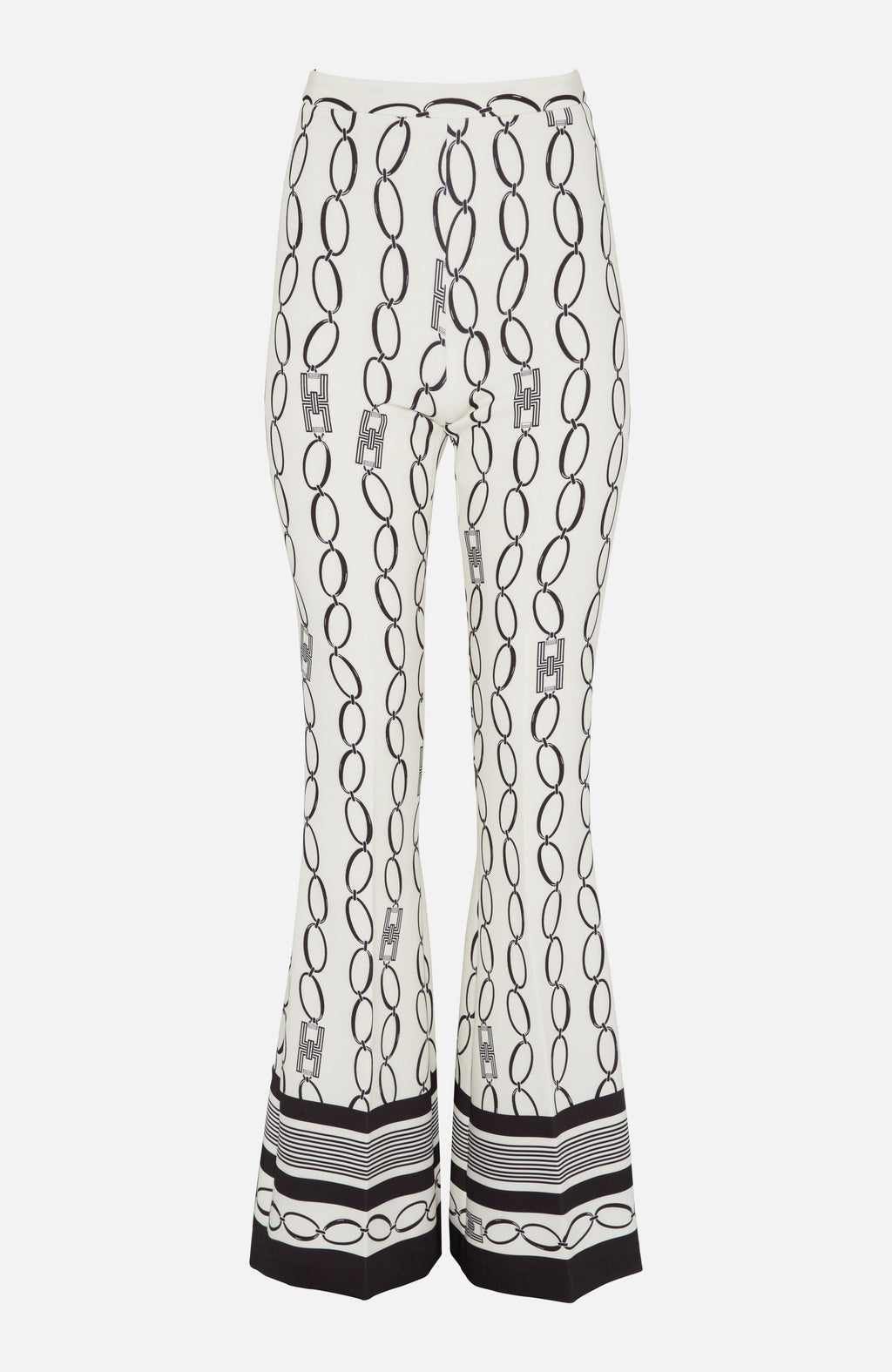 Elisabetta Franchi Ivory Chain Print Trousers