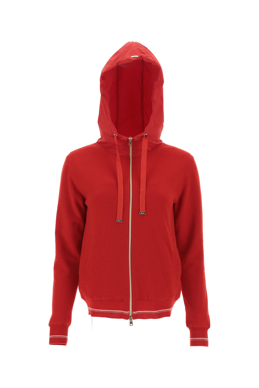 Herno Red Zip Hooded Jacket