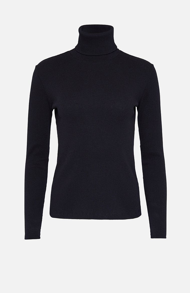 Majestic Filatures Cotton Roll Neck Sweater Navy