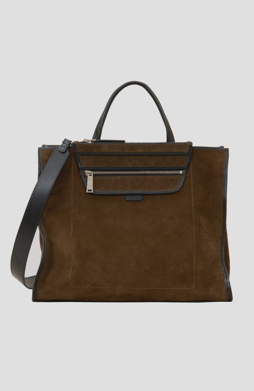 Hogan Khaki Suede Large Shopping Bag