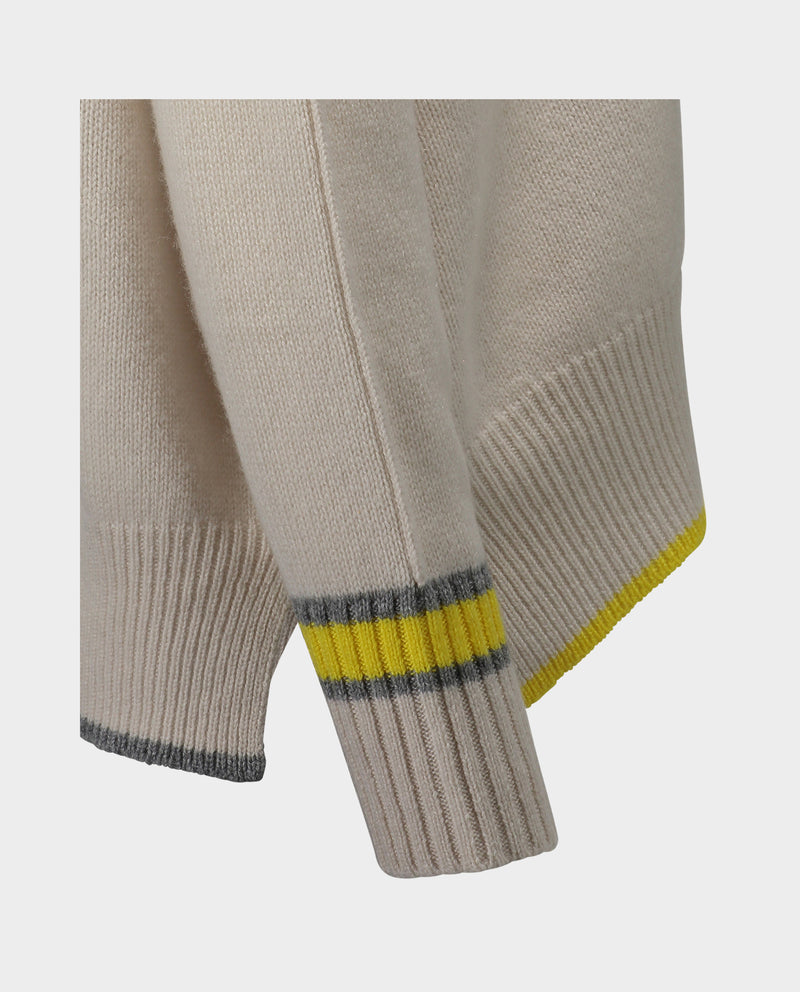 Allude Ivory/Yellow Crew Neck Sweater