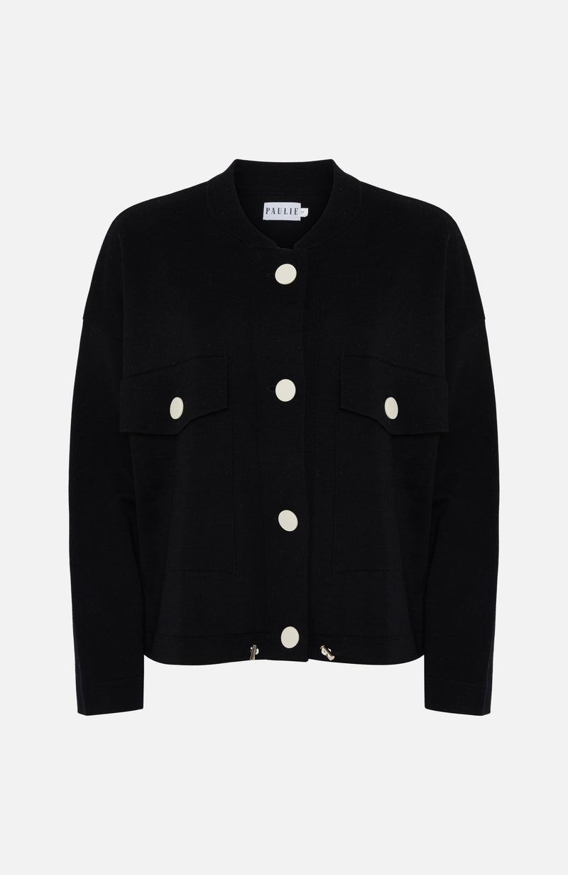 Paulie Black Wool Cardigan with White Buttons