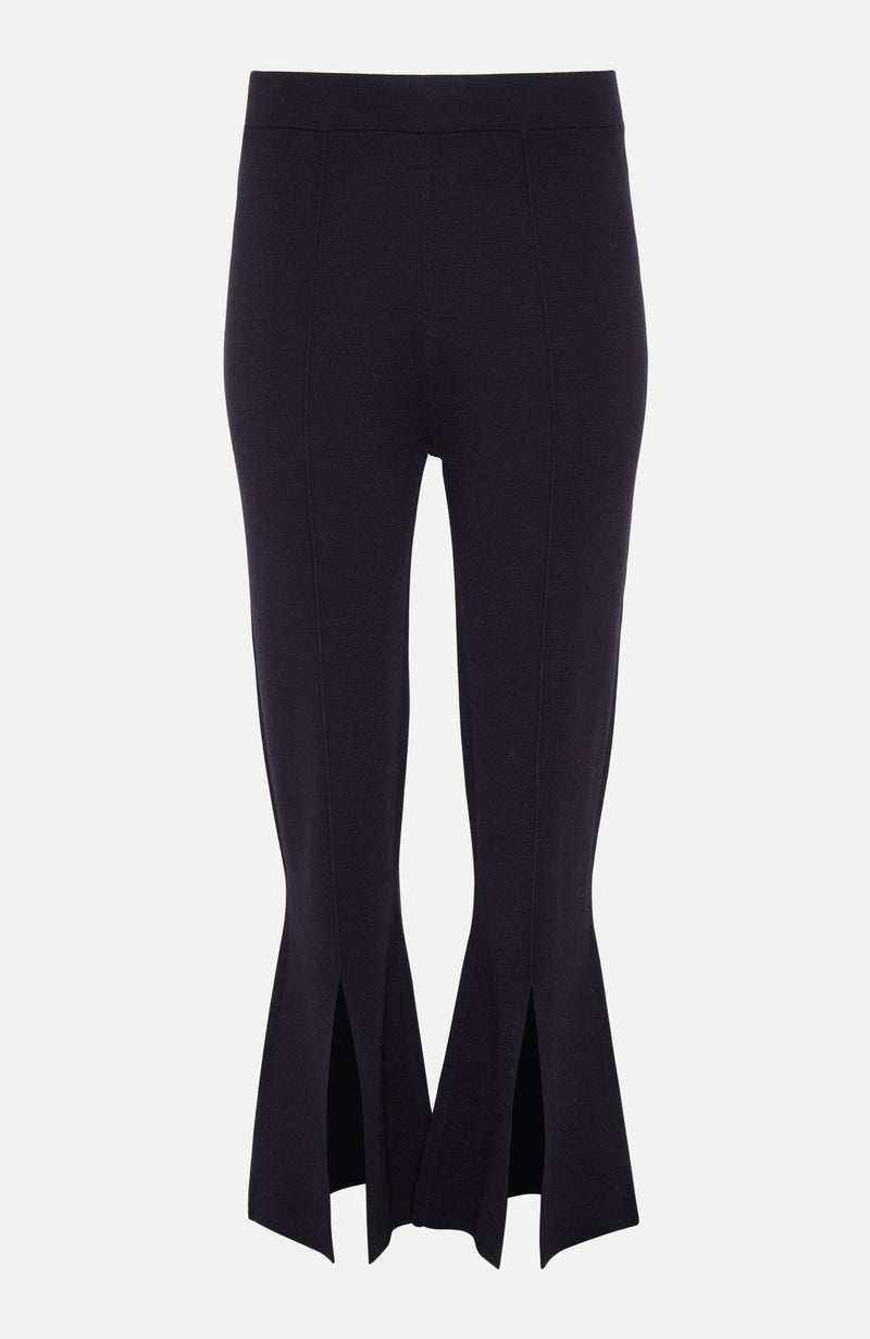 Allude Navy Wool Flared Trousers