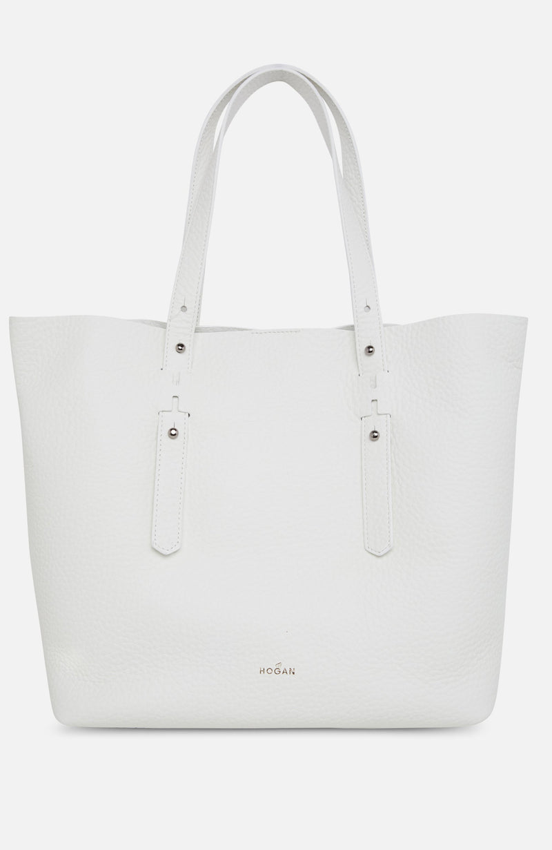 Hogan White Leather Shopping Bag
