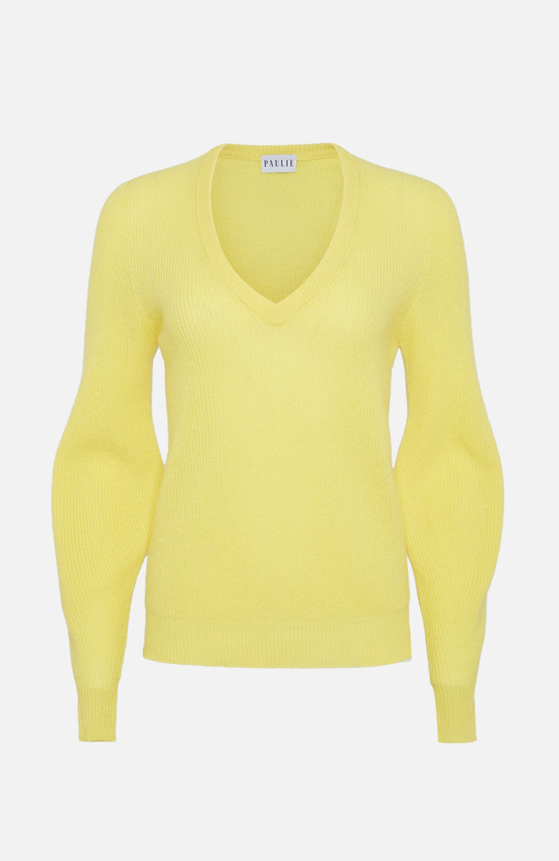 Paulie Yellow Cashmere V Neck Jumper
