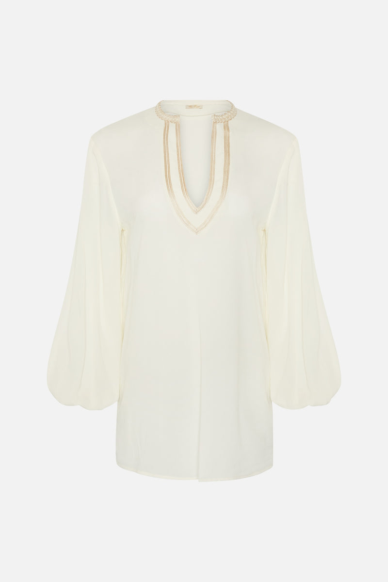 True Royal Embroidered Soft Blouse in Ivory