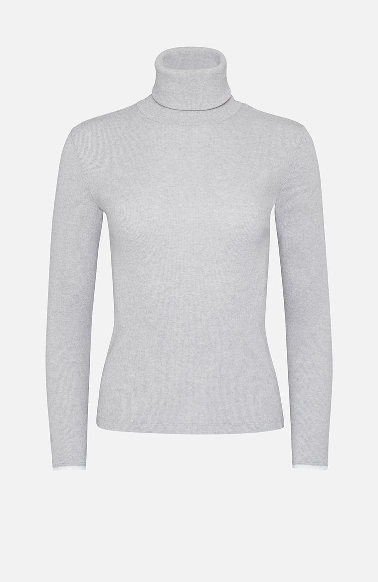 Majestic Filatures Cotton Roll Neck Sweater Grey