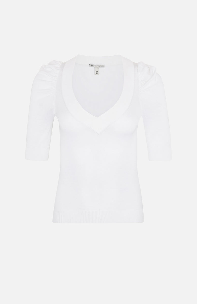 Autumn Cashmere White Puff Sleeve V Neck Top