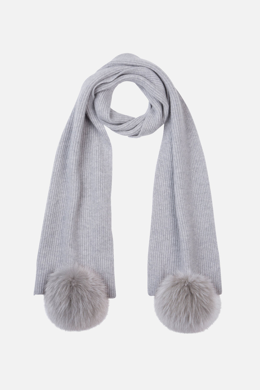 Max & Moi Grey Ribbed Knit Scarf with Pompoms