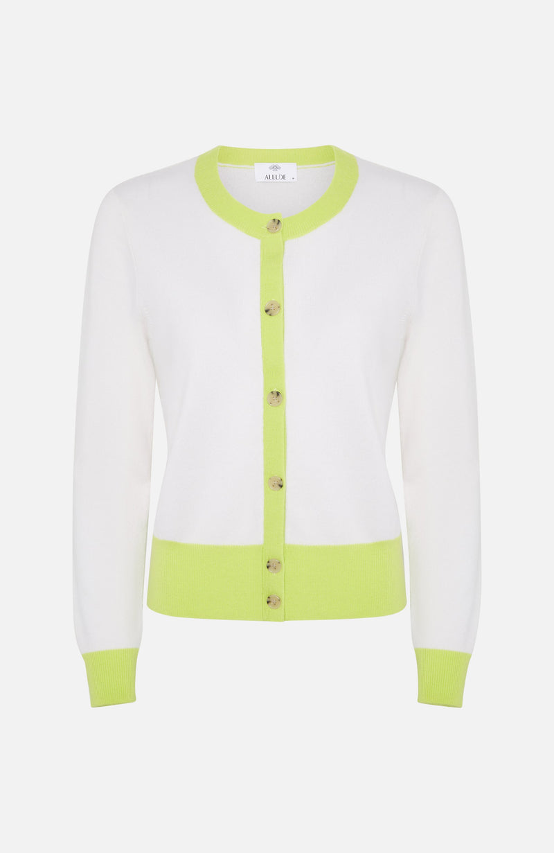 Allude White & Lime Short Cardigan