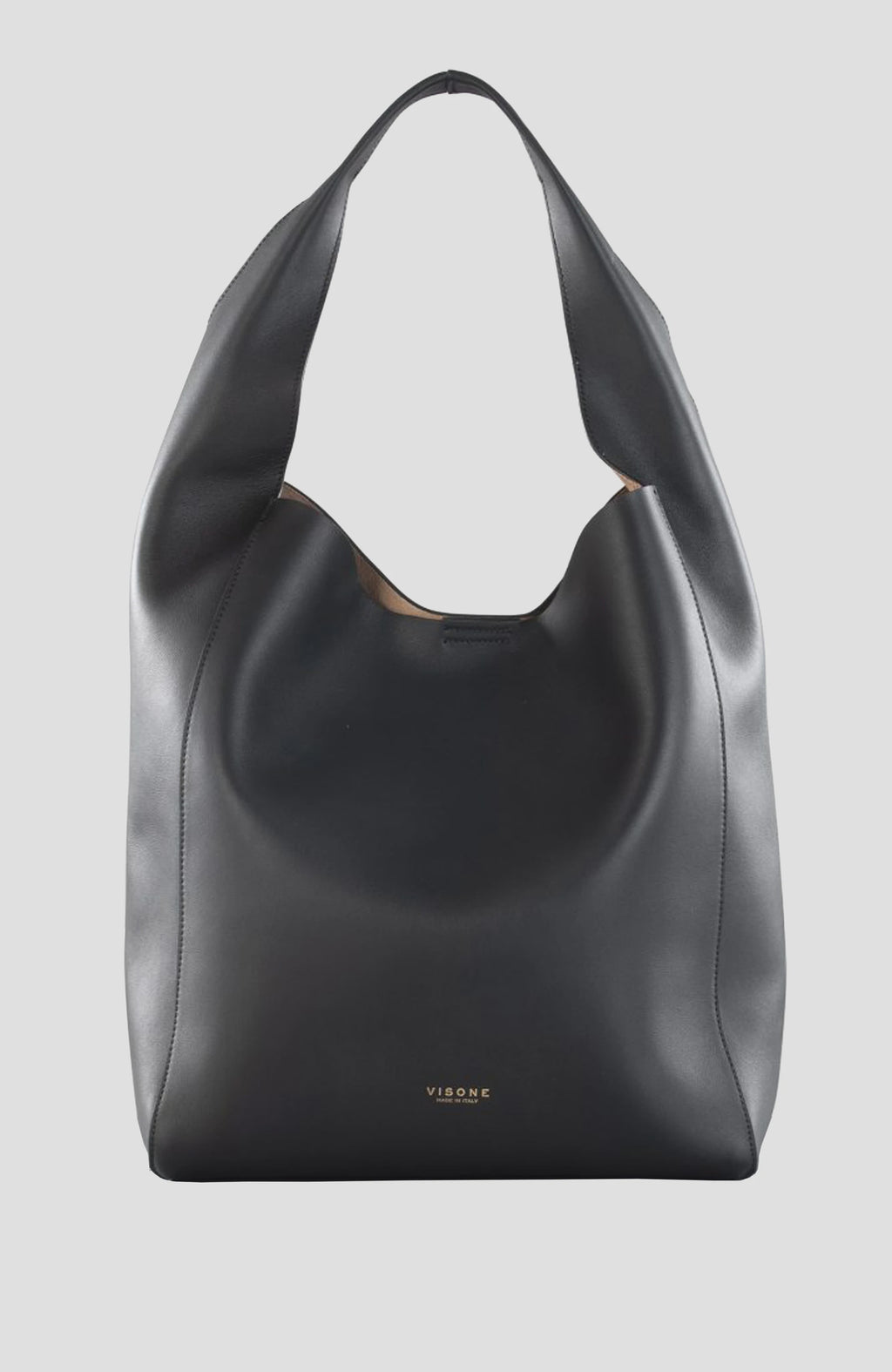 Visone Black Leather Large Shopping Bag