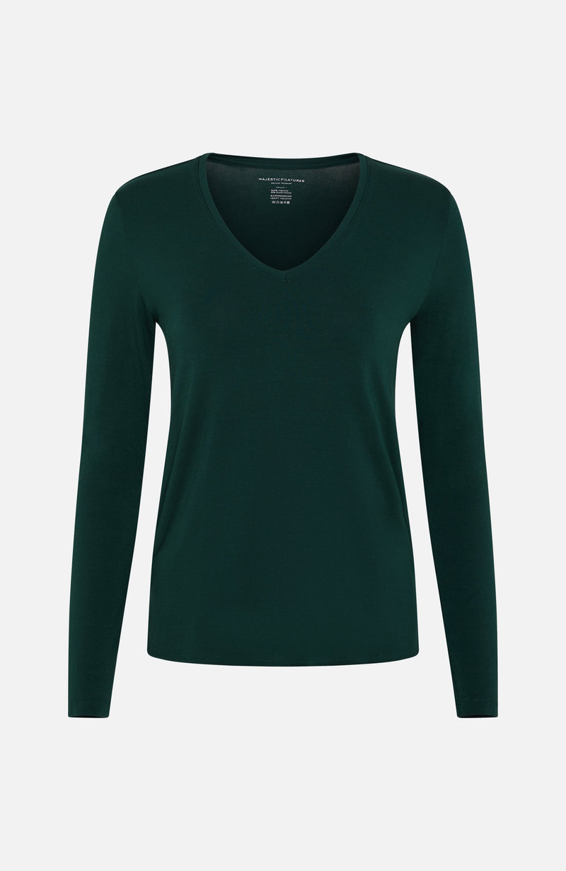 Majestic Filatures Green V-Neck Long Sleeved T-shirt