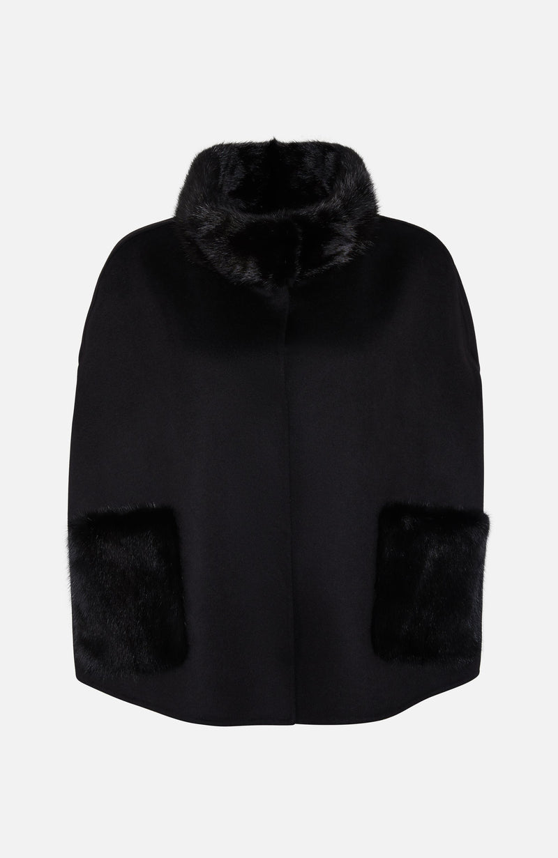 Paulie Black Wool and Mink Poncho
