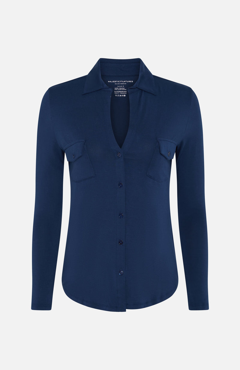 Majestic Filatures Blue Button-V Blouse