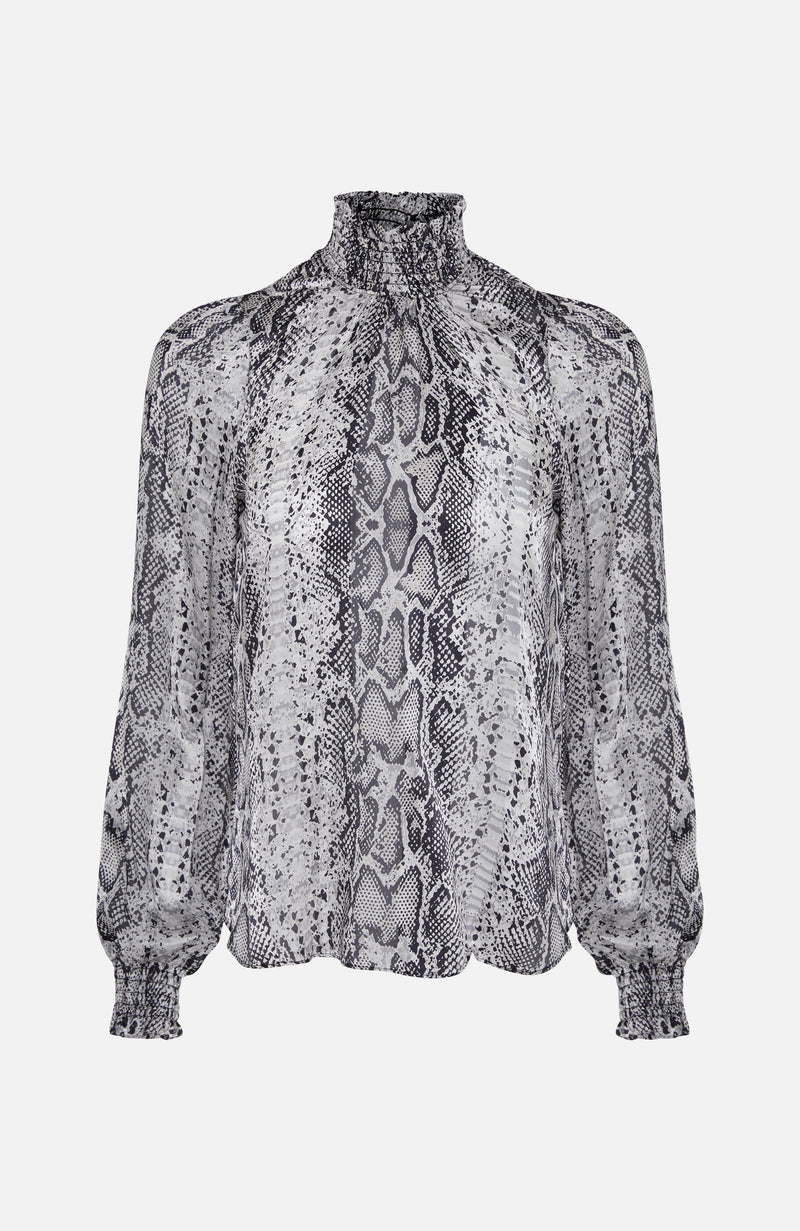 Hale Bob Snake Print Silk High Neck Blouse