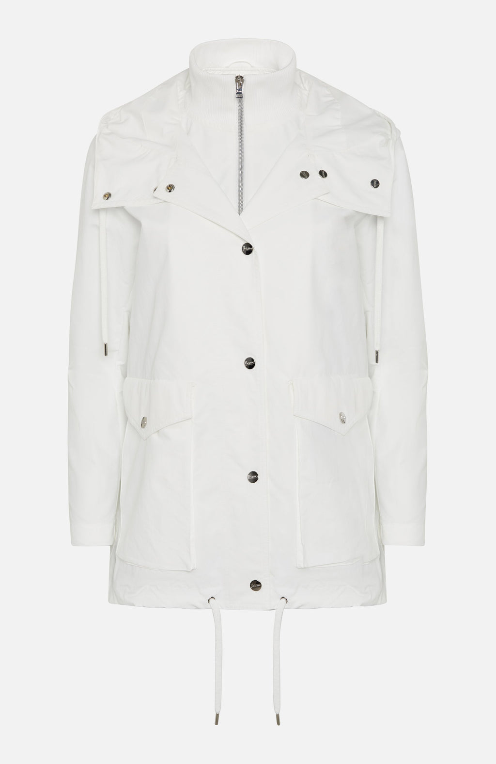 Herno White Rain Coat with Hoodie