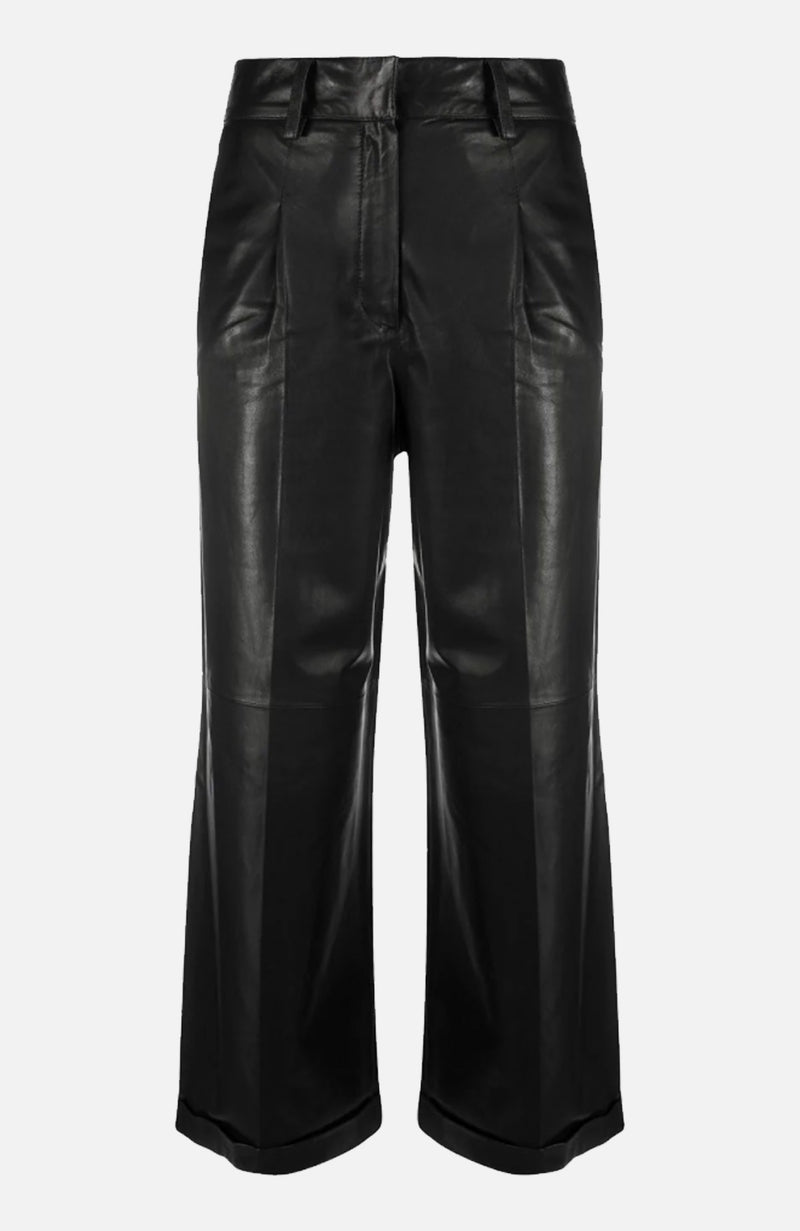 Arma Black Wide Leg Cropped Trousers