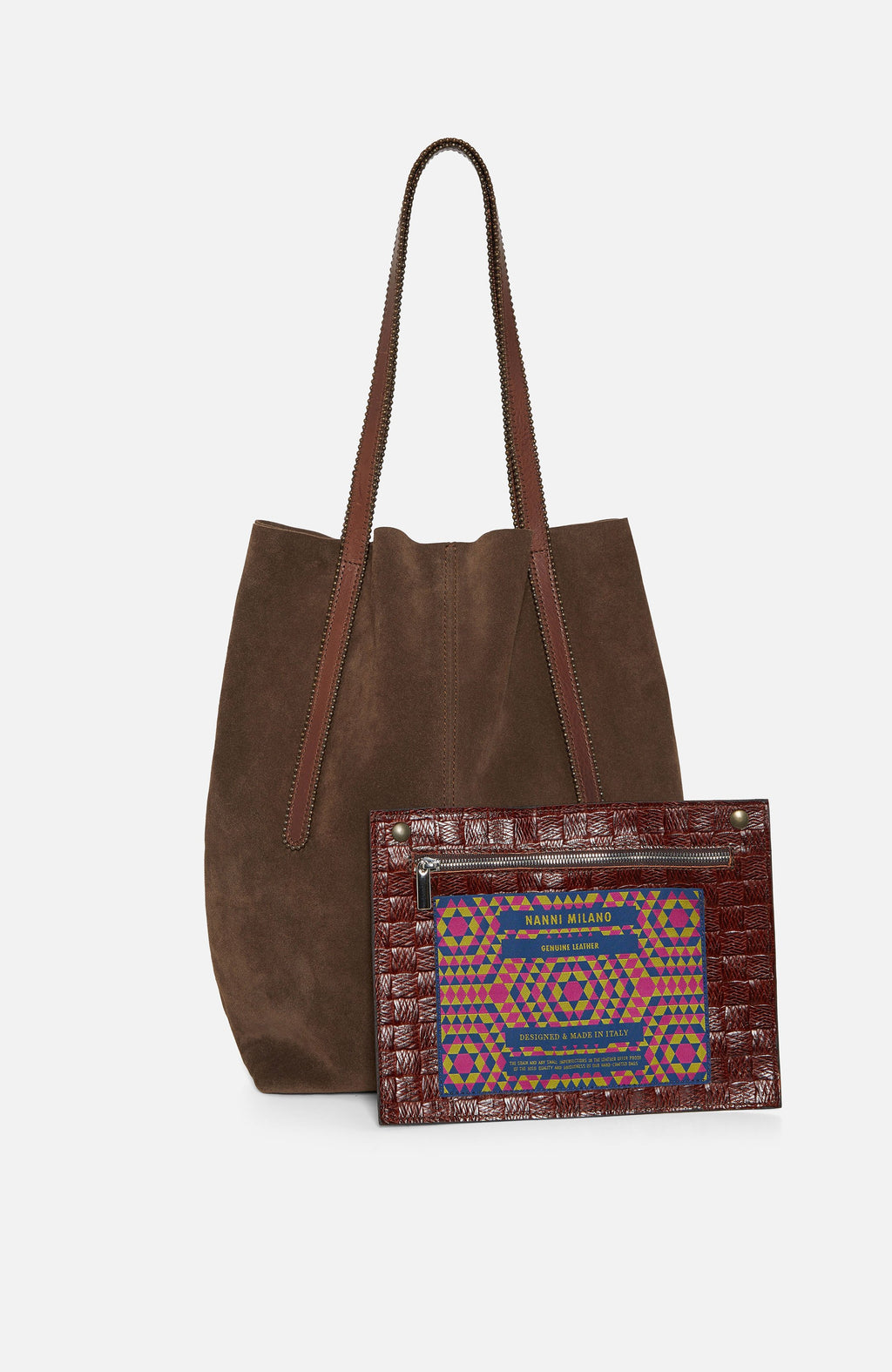 Nanni Brown Suede Large Tote Bag
