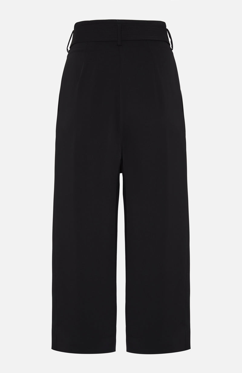 Parosh Panter Black Wide Leg Crop Trousers