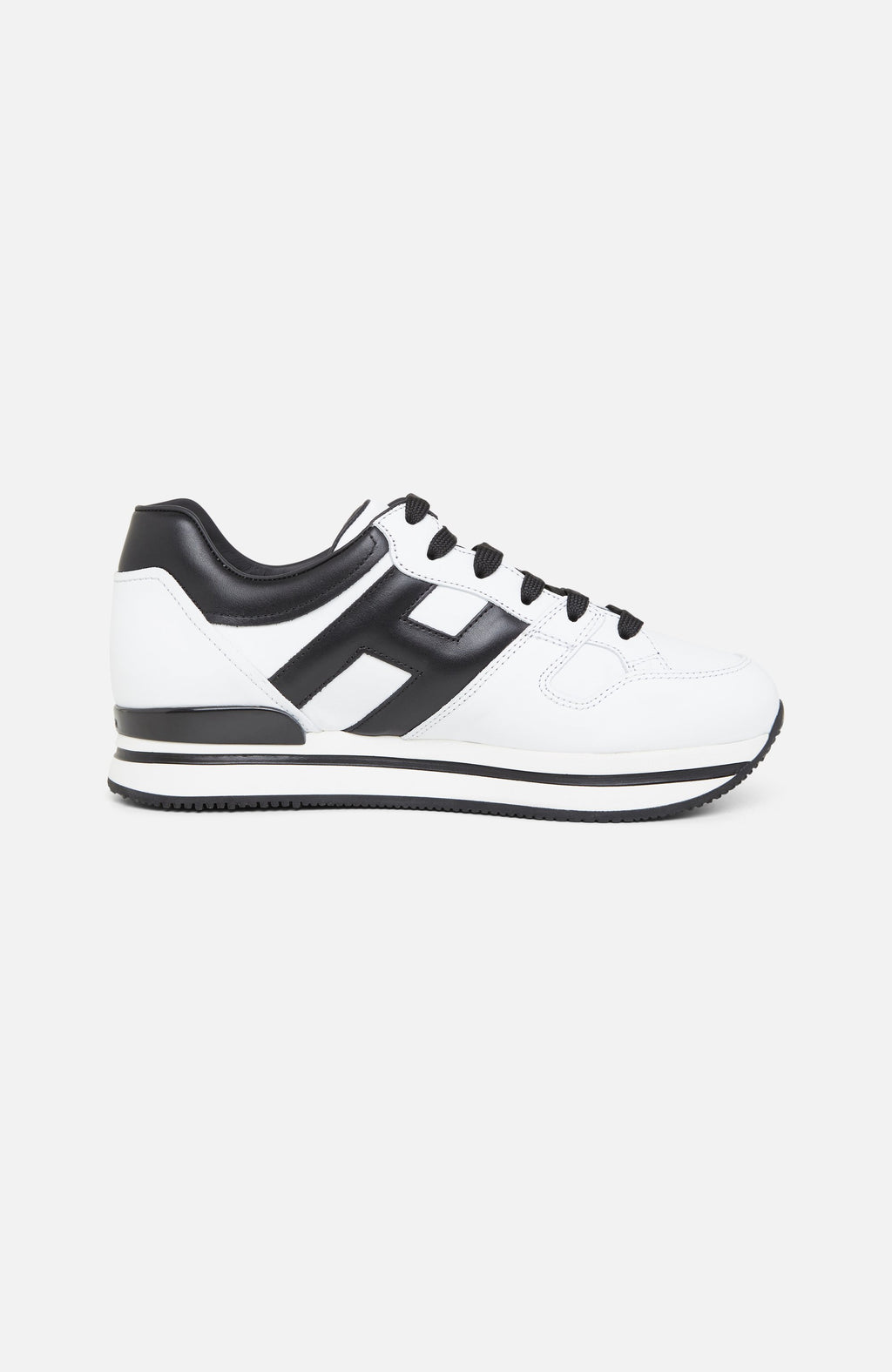 Hogan H222 Black and White Leather Sneakers