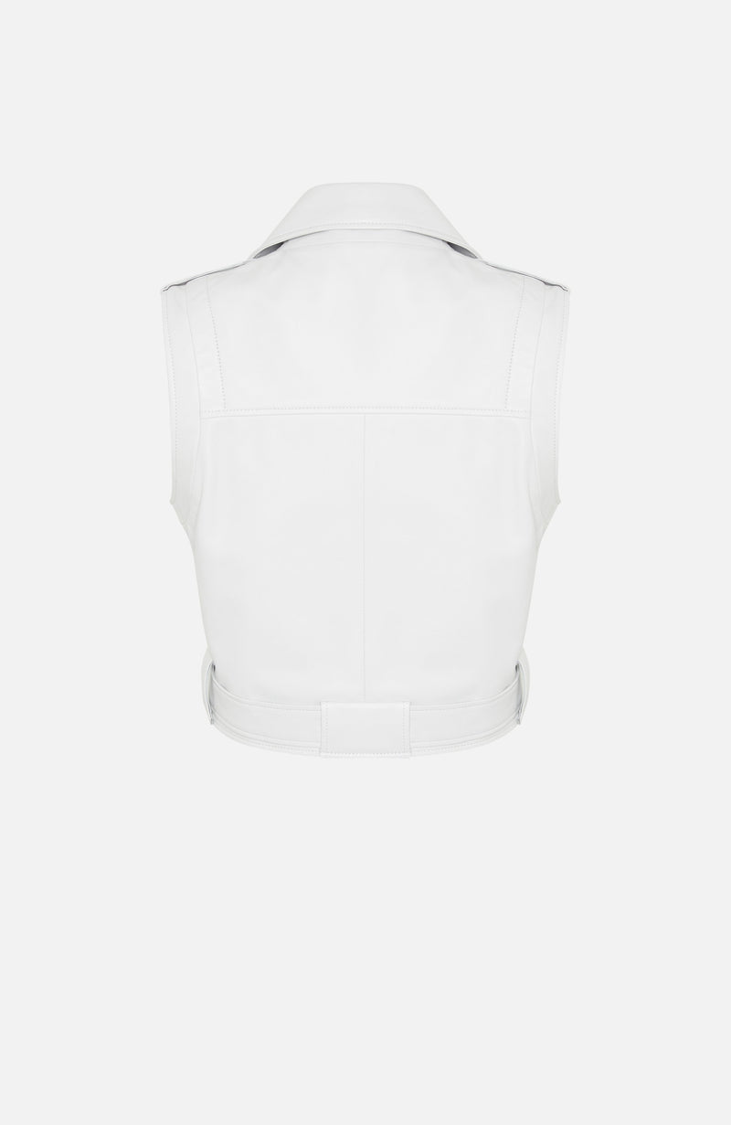 Arma Ritz White Leather Gillet