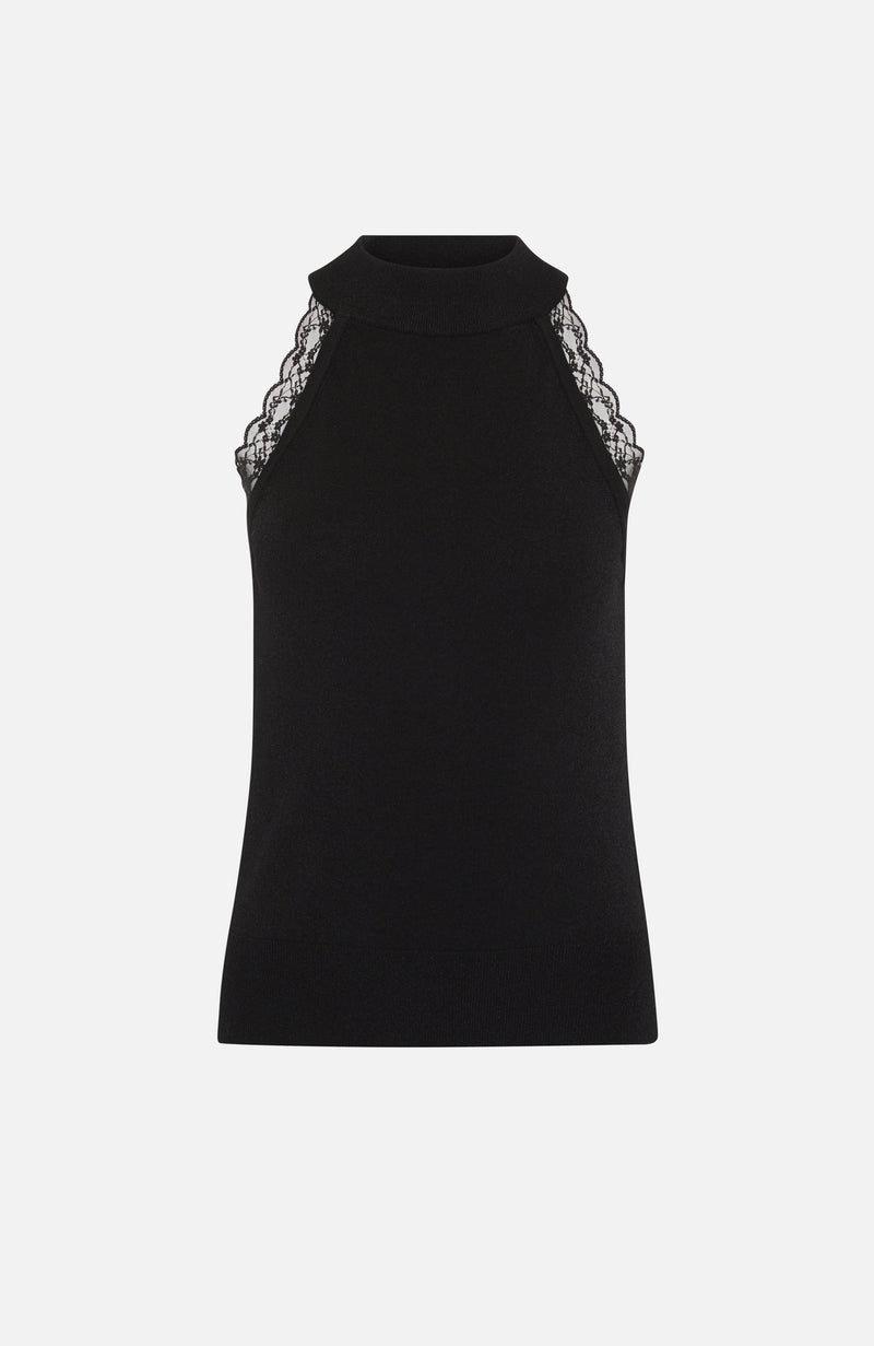 Autumn Cashmere Cut Away Arm Top With Lace in Black