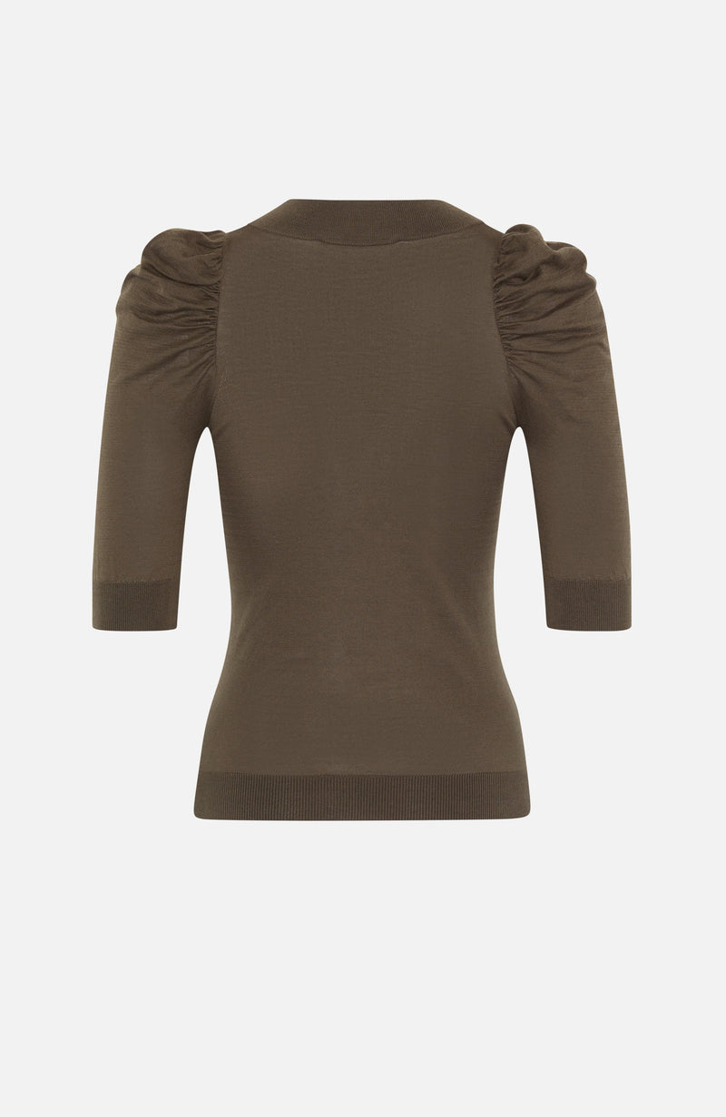 Autumn Cashmere Khaki Puff Sleeve V Neck Top