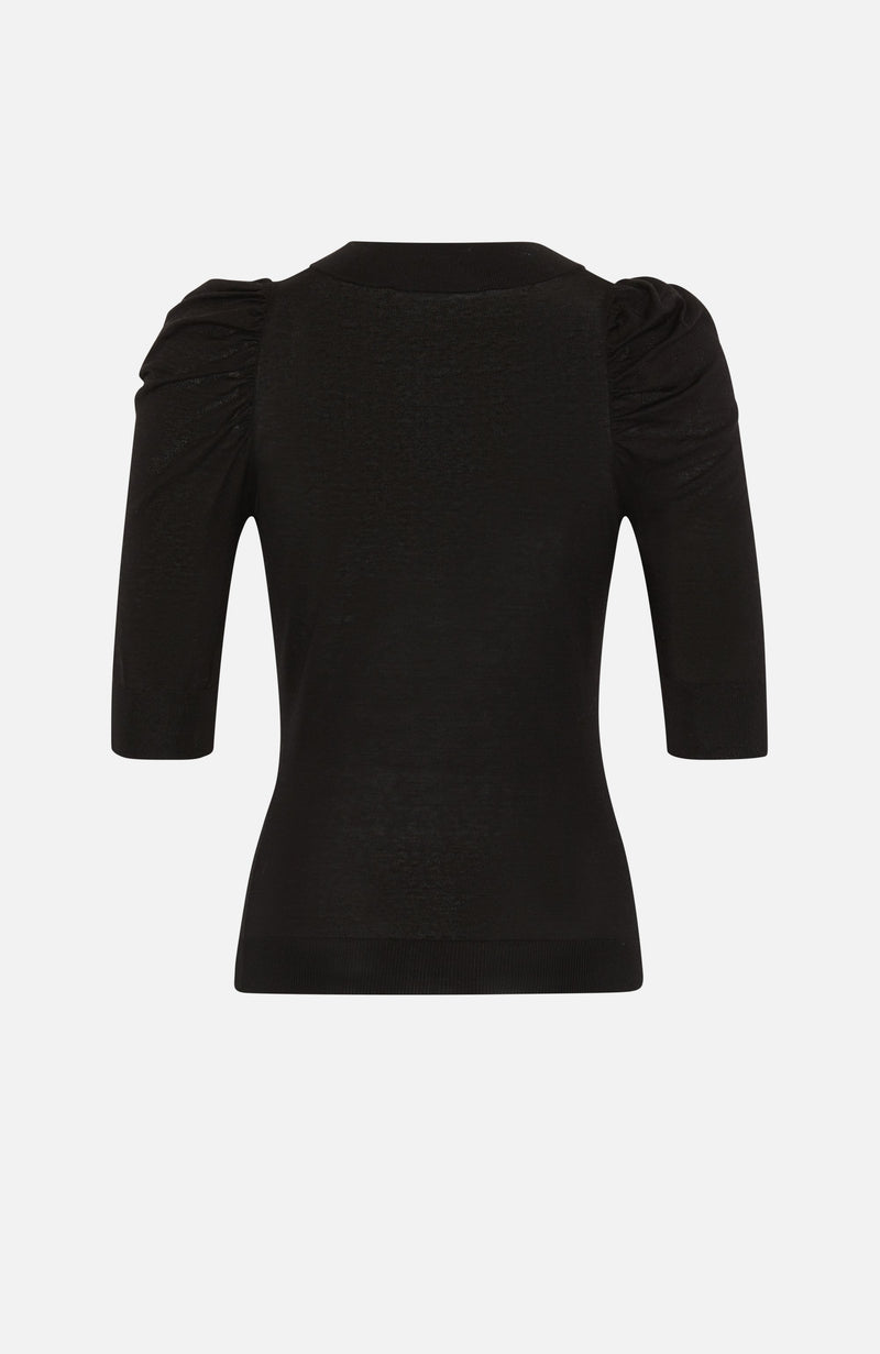 Autumn Cashmere Black V neck Puff Sleeve Top