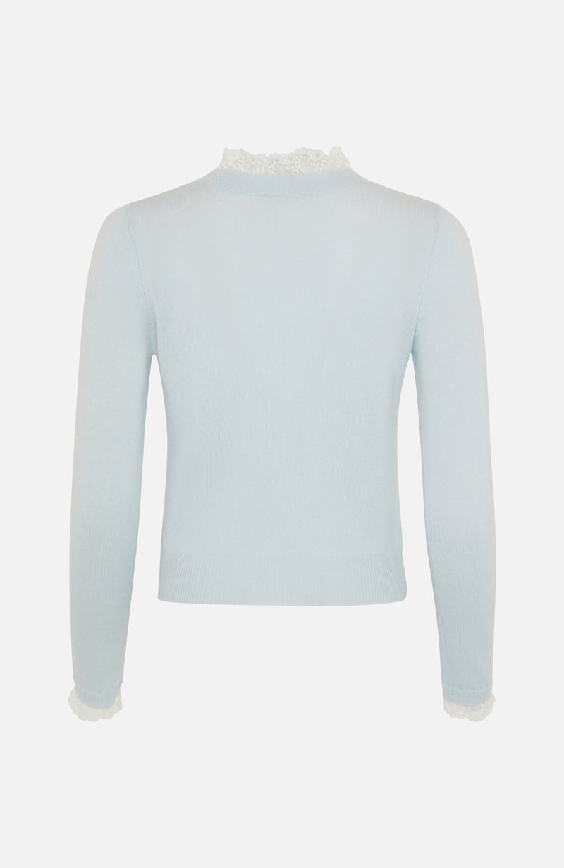Autumn Cashmere Lace Trim Crew Neck Blue Sweater