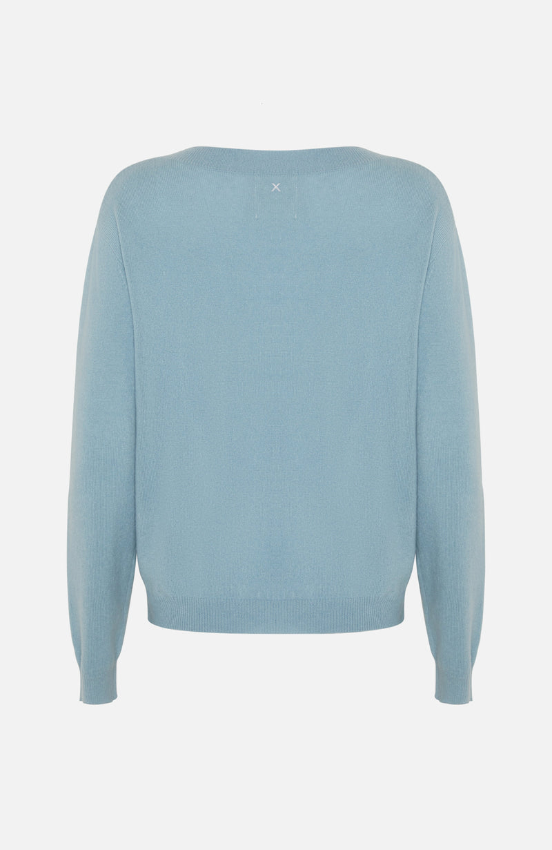 Republic Of Cashmere Boxy V Neck Blue Sweater