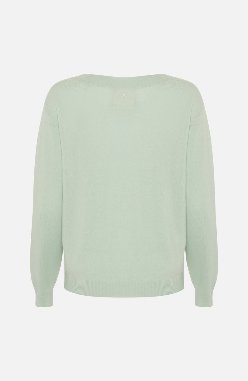 Republic Of Cashmere Boxy V Neck  Pistachio Sweater