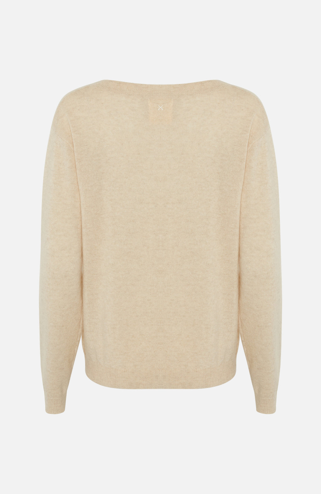 Republic Of Cashmere Boxy V Neck Oatmilk Sweater