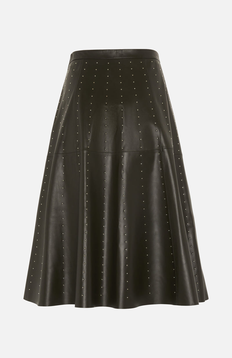 Lou Andrea Khaki Leather Stud Skirt