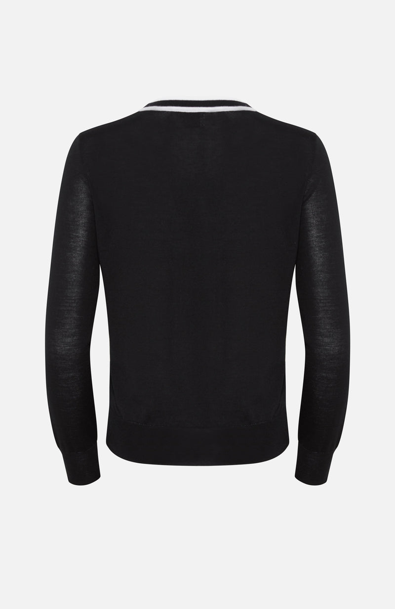 Paulie Black Merino Wool Cardigan