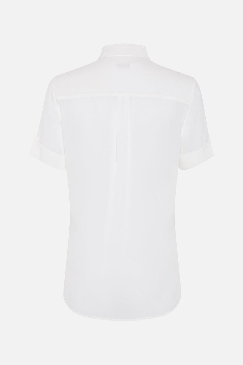 Equipment Signiture Silk Short Sleeve Shirt in White