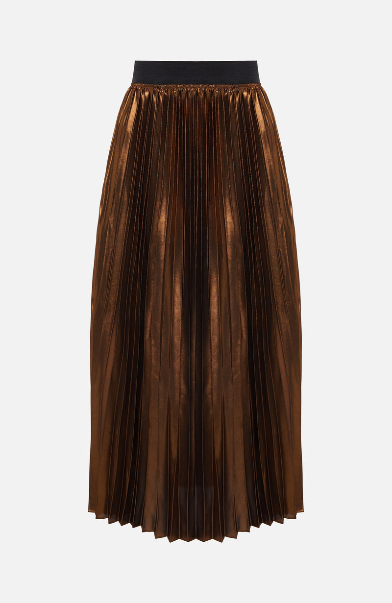 Dream Catcher Bronze Pleated Midi Skirt
