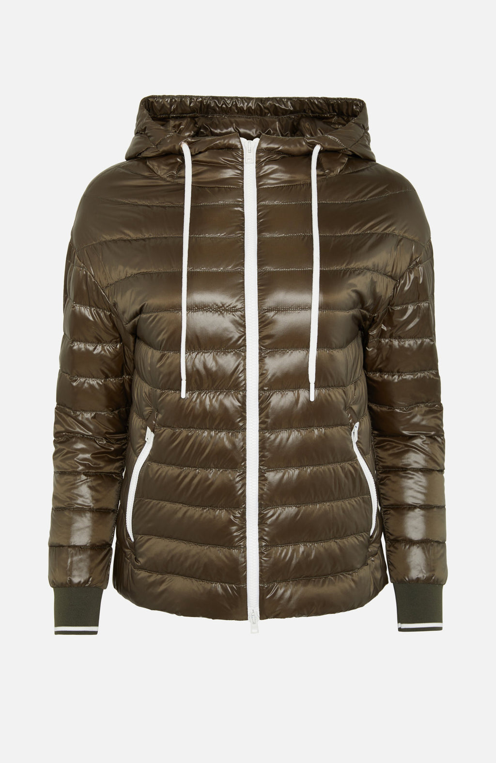 Herno Khaki Hooded Lightweight Puffer Jacket