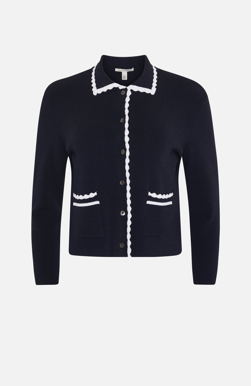 Autumn Cashmere Navy/White Short Jacket
