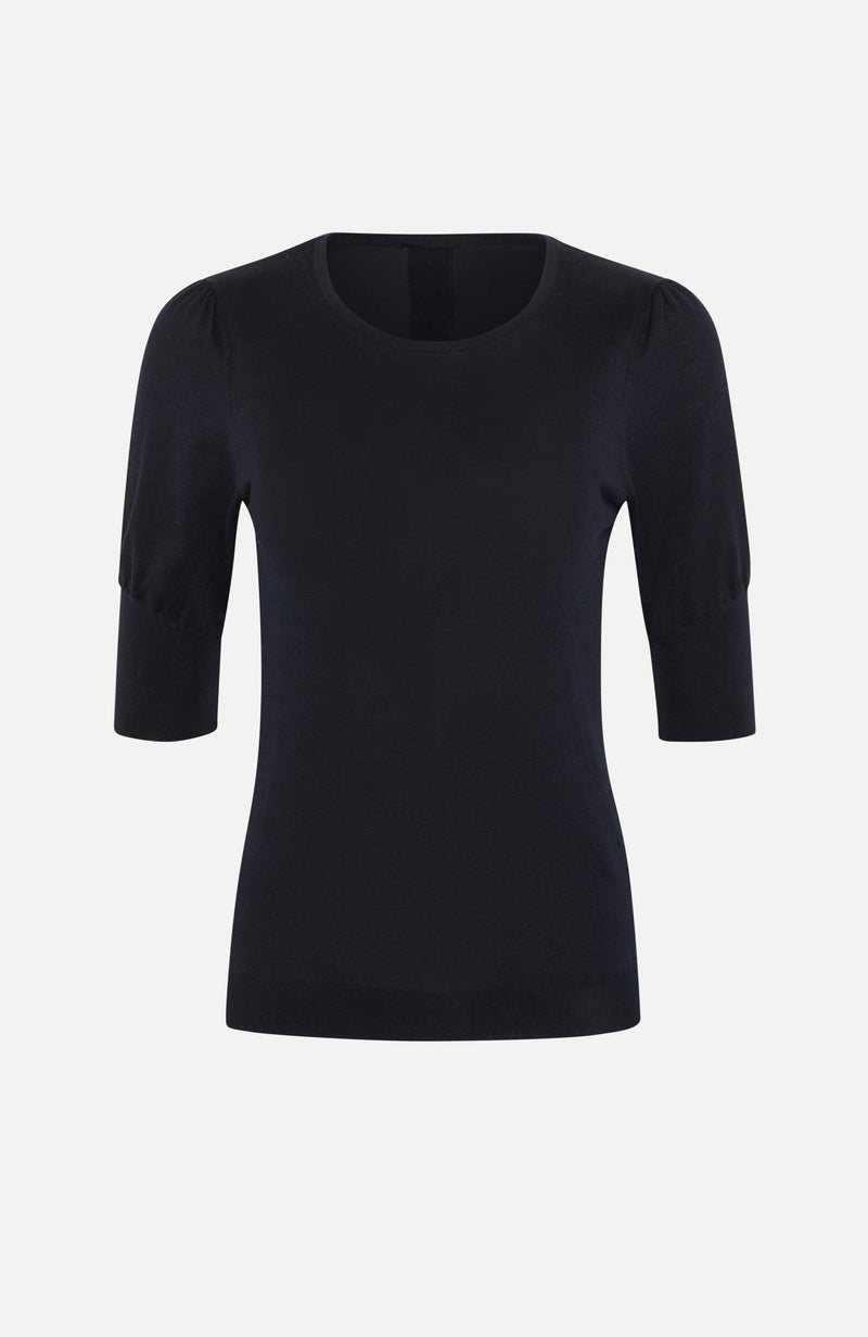 Autumn Cashmere Navy Round Neck Puff Sleeve Top