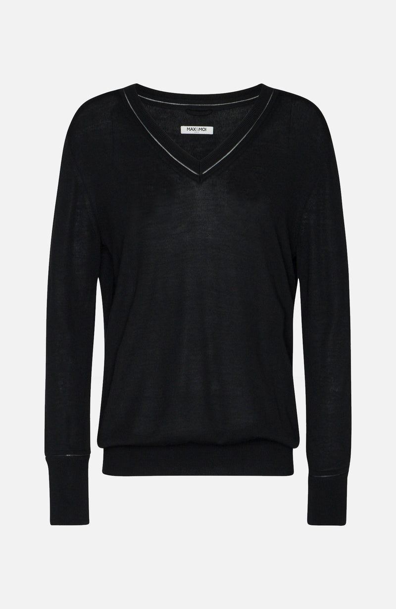 Max & Moi Black V-Neck Jumper