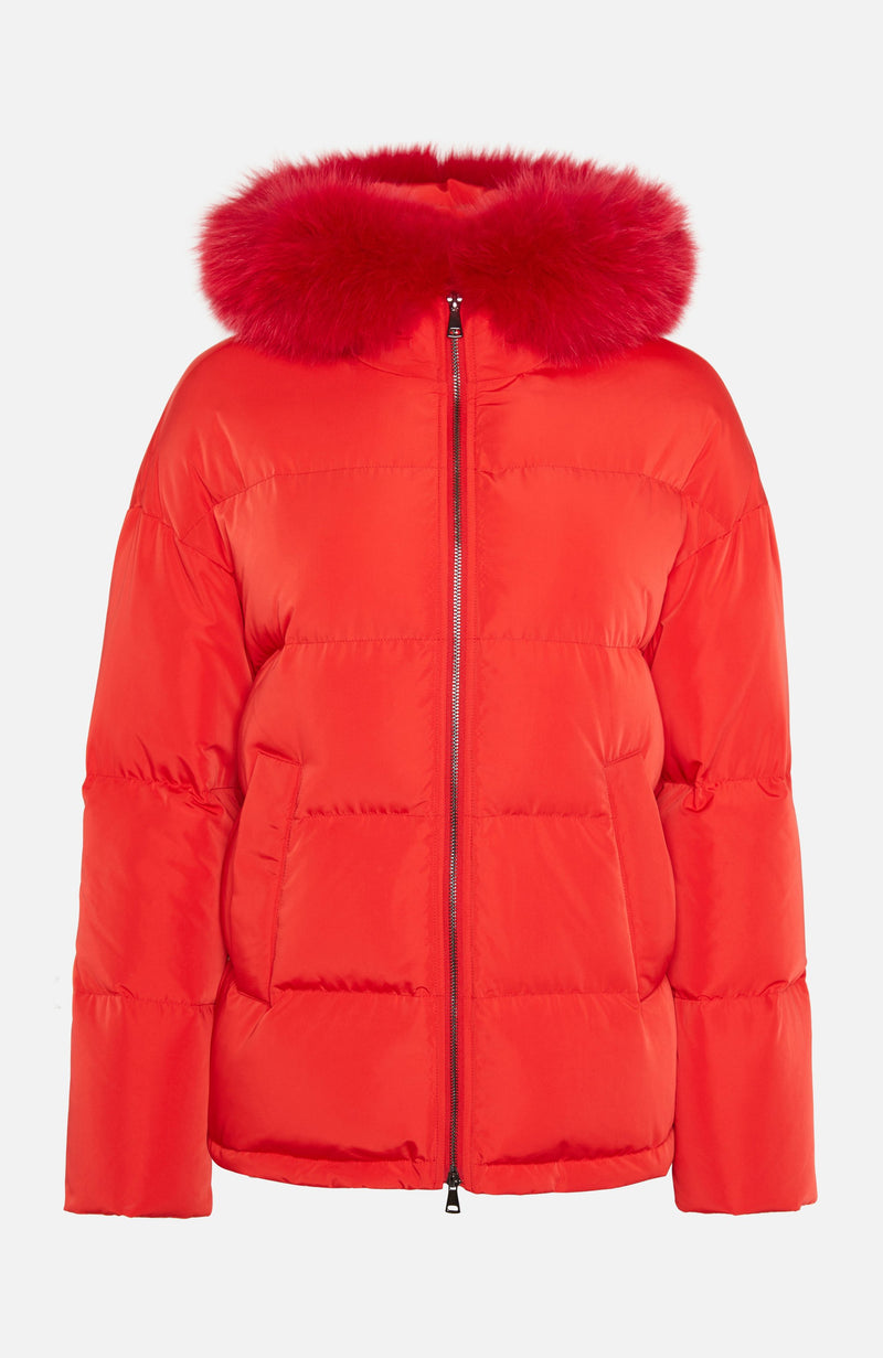 Lou Andrea Short Fur Trim Red Puffer