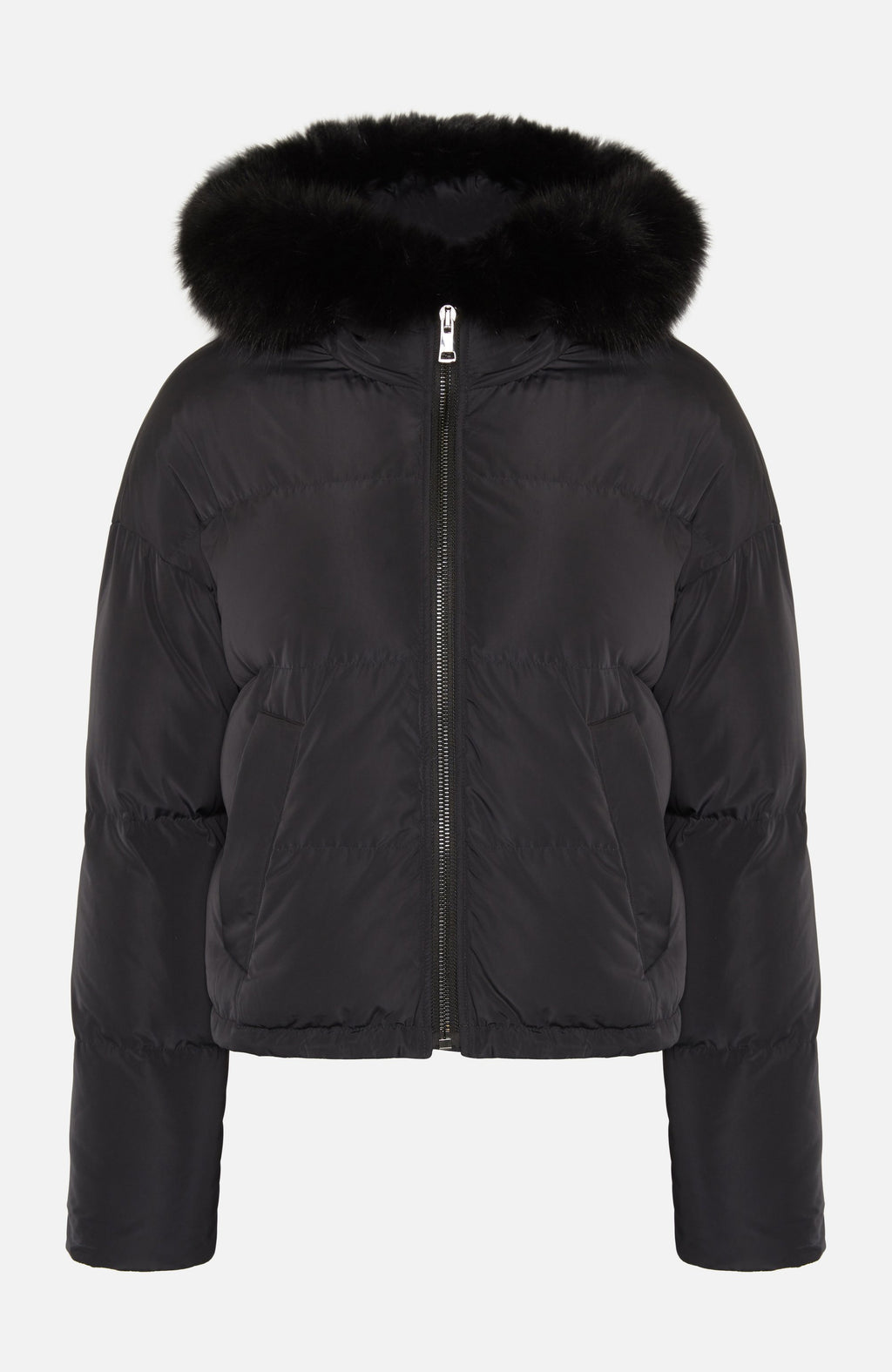 Lou Andrea Short Fur Trim Black Puffer