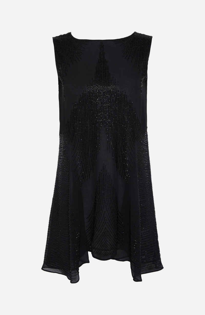 Parosh Black Sleeveless Sequin Dress