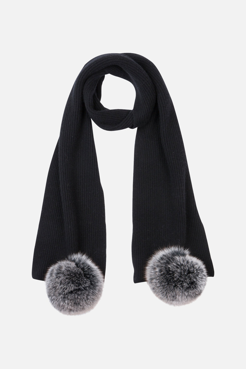 Max & Moi Black Ribbed Knit Scarf with Pompoms