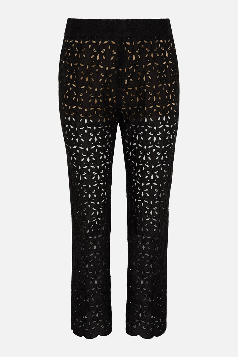 True Royal Susan Embroidery Anglaise Black Trouser