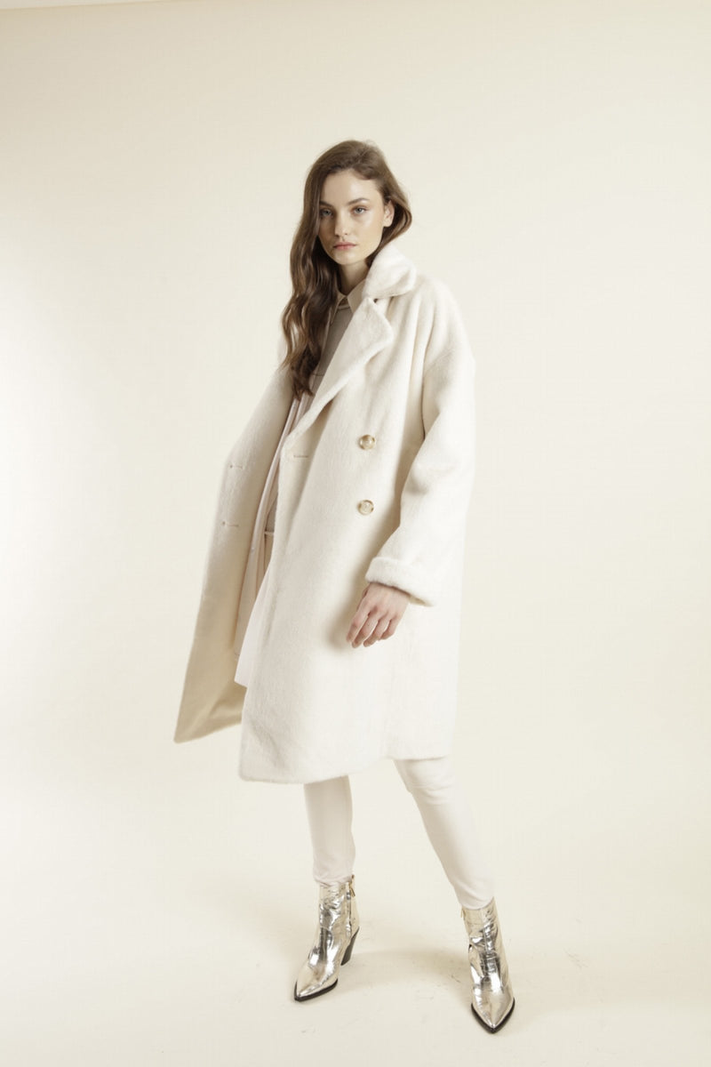Max & Moi Off White Faux Fur Oversized Coat