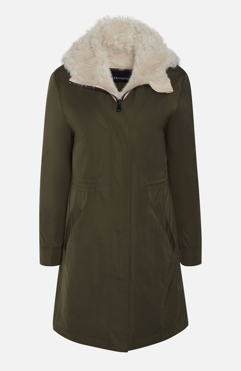 Lou Andrea Khaki Hooded Long Parka