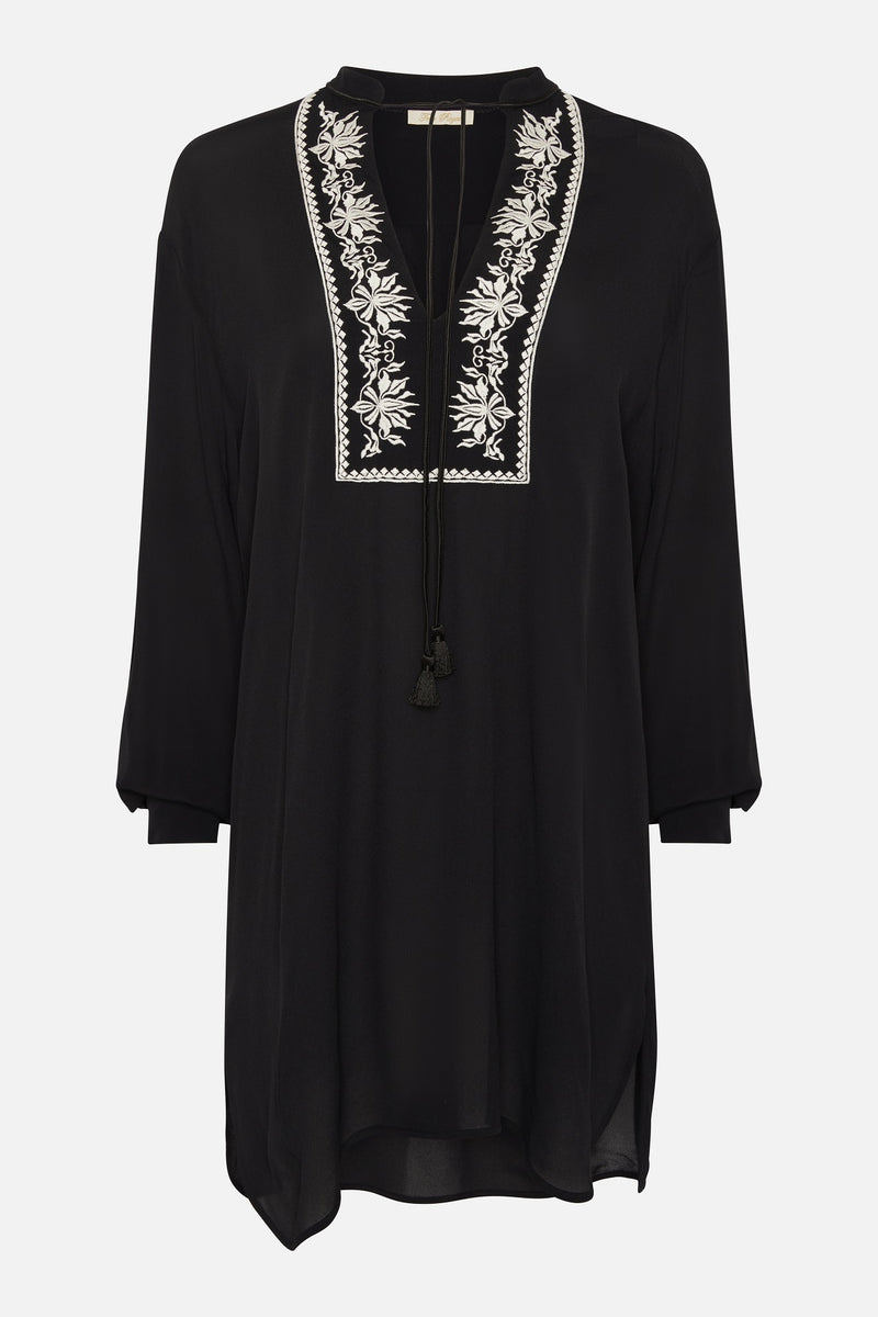 True Royal Georgette Embroidered Dress in Black