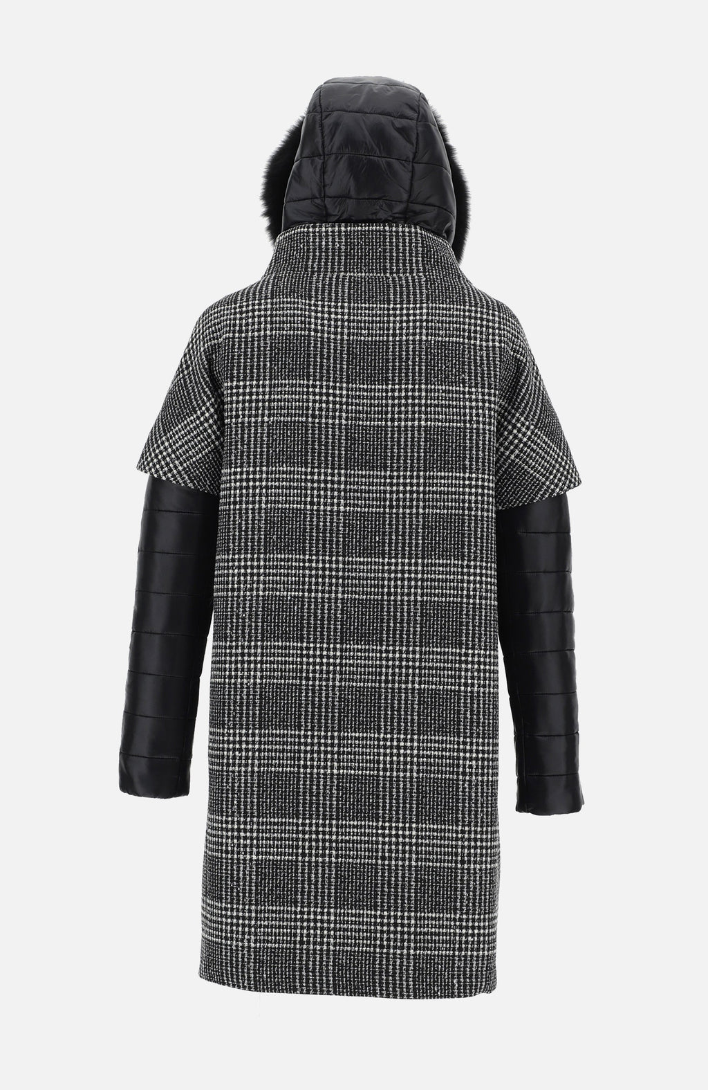 Herno Black Sparkling Check Coat