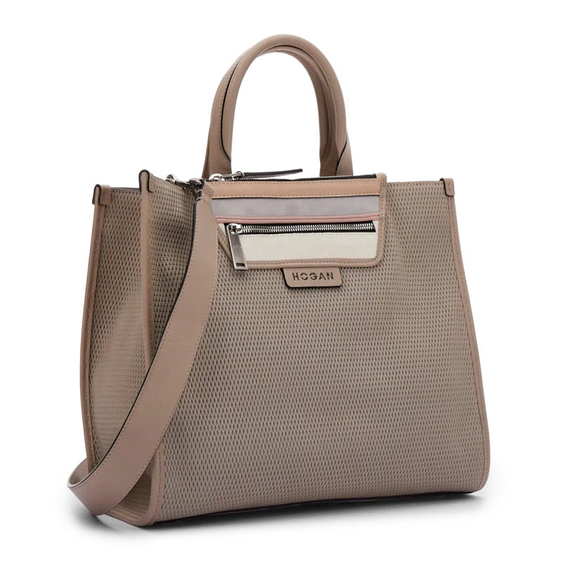 Hogan Taupe Leather Shopping Bag